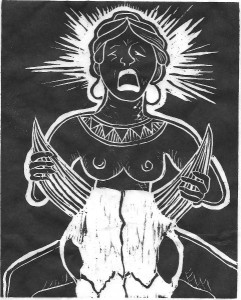 Ereshkigal- woodcut by Christine Andreae